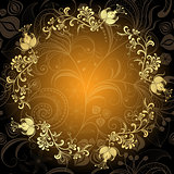 Gold-dark floral lacy circle frame