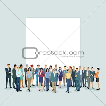 a group of people in front of a white wall
