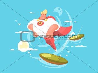 Cartoon superhero with cape