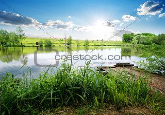 Fishing pier on river