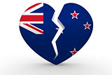 Broken white heart shape with New Zealand flag