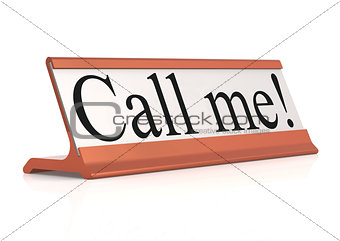 Call me table tag isolated with white background