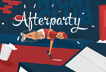 Boy lies near night club, feeling tired,sleepy. Afterparty. Unique concept illustration.