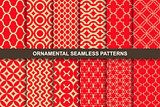 Collection of rich ornamental seamless patterns.