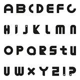 Black vector letters. Minimalist alphabet.