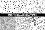 Collection of retro memphis patterns - seamless.
