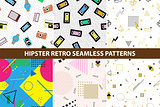 Collection of hipster retro memphis patterns.