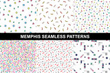 Collection of abstract memphis colorful patterns.