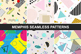 Set of vector abstract seamless patterns.