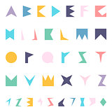 Vector english alphabet in memphis style.