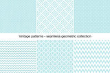 Collection of seamless geometric patterns in vintage style.