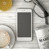 phone on the table, coffee and newspaper 3d illustration