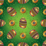 Easter seamless green pattern with eggs