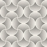 Vector Seamless Black and White Arc Shape Stipple Halftone Pattern