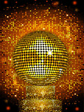 Disco ball on sparkling stand background