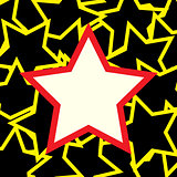 White and red star over stars background