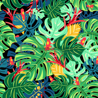 Beautiful pattern leaves monstera and frogs