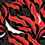 Graphic pattern red leaves