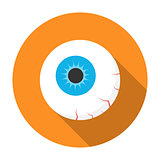 Halloween eyeball icon flat
