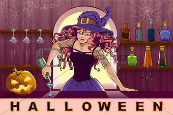 Beautiful pretty witch girl pours cocktails Halloween party