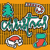 Set of christmas stickers on yellow background. Vector illustration