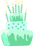Mint color anniversary cake with candles decorations in light pastel colors. EPS10