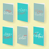 Set of christmas brochures templates. Vector Holidays cards collection. Hand drawn lettering elements.