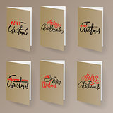 Merry Christmas card template set with lettering elements in gold metallic color. Ideal for xmas greetings. EPS10 vector.