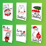 Set of christmas brochures templates. Bright vector backgrounds. Christmas frames, lettering for your design.