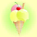 Fresh ice cream on green gradient background. Vector illustration