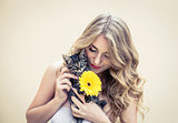 Girl with flower and cat