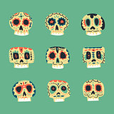 Vector cute ethnic Mexican skulls icons
