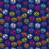 Vector cartoon flat Day of the Dead seamless pattern
