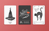 Set of vector black and white cards for Halloween.