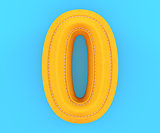 Leather yellow texture letter digit number zero 0