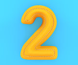 Leather yellow texture letter digit number two 2
