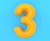 Leather yellow texture letter digit number three 3