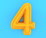 Leather yellow texture letter digit number four 4