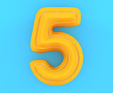 Leather yellow texture letter digit number five 5