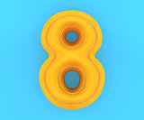 Leather yellow texture letter digit number eight 8