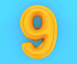 Leather yellow texture letter digit number nine 9