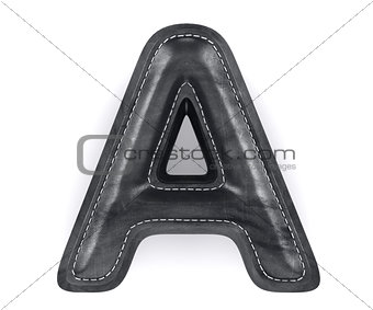 Black leather skin texture capital letter A