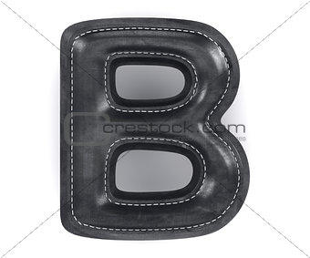 Black leather skin texture capital letter B