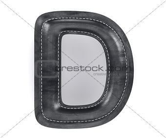 Black leather skin texture capital letter D