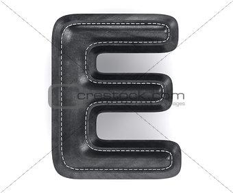 Black leather skin texture capital letter E