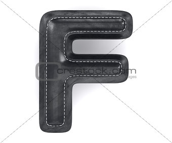 Black leather skin texture capital letter F