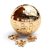 Golden spherical jigsaw puzzle
