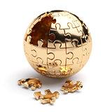 Golden spherical jigsaw puzzle