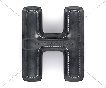 Black leather skin texture capital letter H