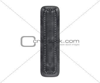Black leather skin texture capital letter I